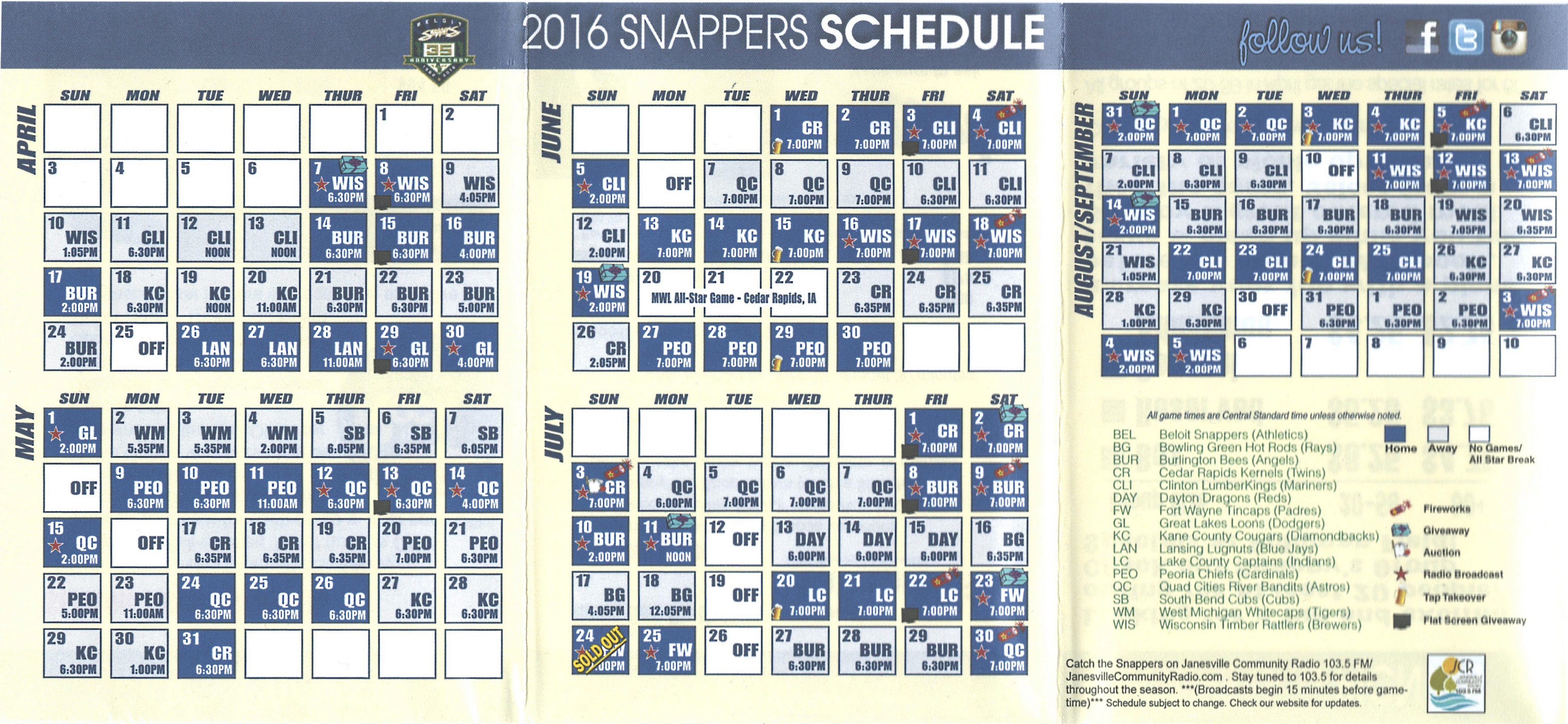 2016 Snappers schedule