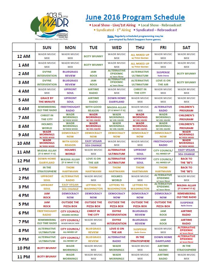 June WADR Schedule
