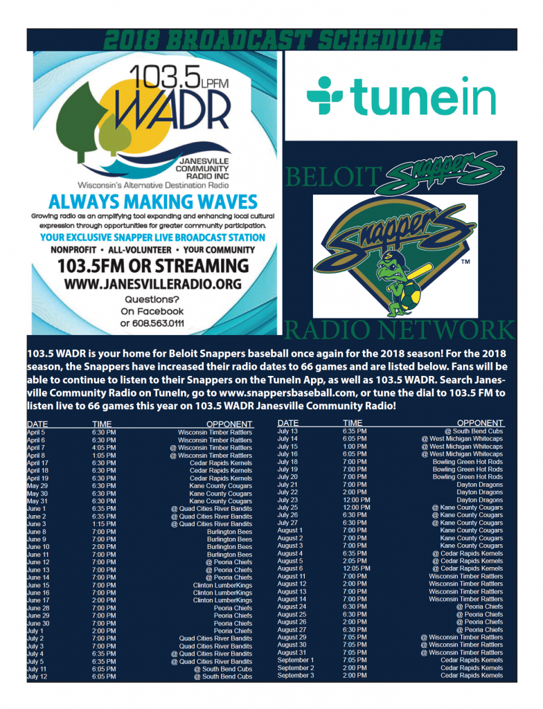click below for a printable schedule of all 2018 beloit snappers games airing on 1035 fm wadr