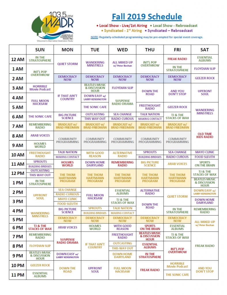 Fall 2019 Schedule